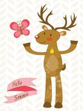 Cute deer and butterfly Royalty Free Stock Photos