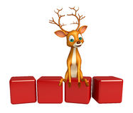 Cute Deer cartoon character with level Stock Images