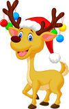 Cute deer cartoon with red hat and christmas ball Stock Images