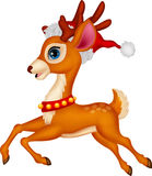 Cute deer cartoon with red hat Royalty Free Stock Photos