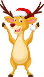 Cute deer cartoon waving Royalty Free Stock Images