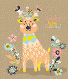 Cute deer with flowers Stock Photography