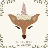 Cute deer graphic with unicorn horn and flower crown royalty free illustration