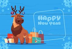 Cute Deer On Happy New Year Greeting Card Christmas Holiday Concept. Flat Vector Illustration Royalty Free Stock Photo