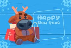Cute Deer On Happy New Year Greeting Card Christmas Holiday Concept. Flat Vector Illustration Stock Images