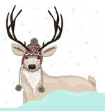 Cute deer with hat winter background. With snowflakes Stock Image