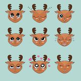Cute deer head emotion collection. Cute and fanny deer head emotion vector illustration design element Stock Photos