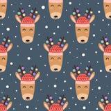 Cute deer heads seamless pattern stock illustration