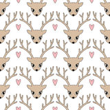 Cute deer with heart background for winter holidays. Stock Photos