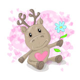 Cute deer with hearts cartoon. Vector illustration Royalty Free Stock Image