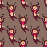 Cute deer kids wearing Christmas costumes vector characters little people seamless pattern cheerful children holidays Royalty Free Stock Photography