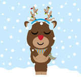 Cute deer is listening music  cartoon on snow background, Xmas postcard, greeting card and wallpaper. Illustration Royalty Free Stock Image