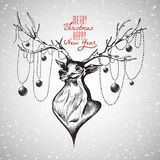 Cute deer, Merry Christmas and Happy New Year postcard, vector   Stock Images