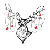 Cute deer, Merry Christmas and Happy New Year postcard, vector i Stock Photo