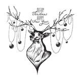 Cute deer, Merry Christmas and Happy New Year postcard, vector i Royalty Free Stock Photos