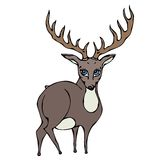 Cute Deer Reindeer Caribou Cartoon Character. Isolated On a White Background Doodle Cartoon Hand Drawn Sketch Vector. Isolated On a White Background Doodle Stock Photo