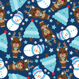 Cute deer, snowman and tree on dark blue background cartoon, Xmas Seamless pattern, postcard, and wallpaper. T-shirt design for kids stock illustration