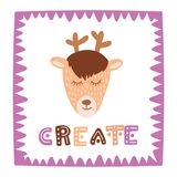 Cute deer in sweet frame with hand drawn lettering create. Colorful isolated animal vector illustration. For postcards, home decor and decorative prints Royalty Free Stock Photos