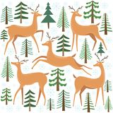 Cute deer vector set. Reindeer with tree. Winter forest illustration. Cute deer vector set. Reindeer withtree. Winter forest illustration isolated on white stock illustration
