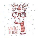 Cute deer in a warm hat. Hand drawn vector portrait of a cute funny deer in a warm hat, muffler, glasses, text Winter is here. Isolated objects on white Royalty Free Stock Images