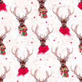 Cute deer wearing stylish winter scarves seamless vector print. Tree  and stars backdrop Royalty Free Stock Photos