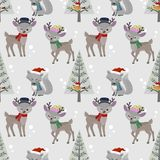 Cute deer and wolf with Christmas hat seamless pattern vector illustration