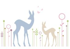Cute deers with floral background, vector Royalty Free Stock Image