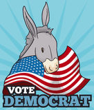 Cute Democrat Donkey with Waving American Flag, Vector Illustration Royalty Free Stock Photography