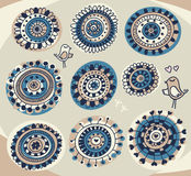 Cute design elements in folk style. Vector doodle background royalty free illustration