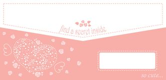 Cute design for greeting card or envelope with heart and roses and keys. Stock Images