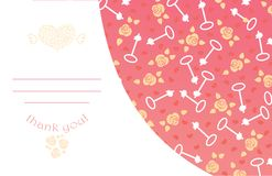 Cute design for greeting card with heart and Royalty Free Stock Photo