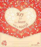 Cute design for greeting card with heart and roses and keys. Stock Image