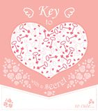 Cute design for greeting card with heart and roses keys. Stock Images