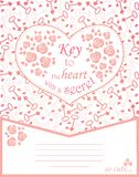 Cute design for greeting card with heart and roses, keys. Stock Image