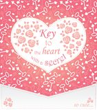 Cute design for greeting card with heart and roses and keys. Stock Photo