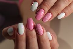 design of manicure Pink and white color royalty free stock photo