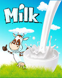 Cute design with milk splash, cow and nature Stock Images
