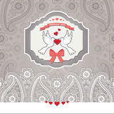 Cute design template.Paisley border lace and cartoon pigeons Royalty Free Stock Images