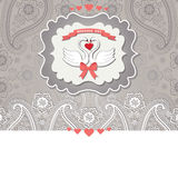 Cute design template.Paisley border lace and cartoon  swans Stock Photos