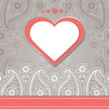 Cute design template.Paisley border lace and hearts Royalty Free Stock Image