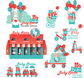 Cute Designs Set for Baby Store Delivery Service Royalty Free Stock Photos