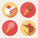 Cute dessert icons Stock Images