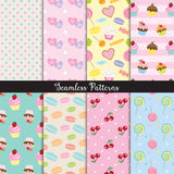Cute Dessert Seamless Pattern Set. Vector illustration of cute dessert seamless pattern set vector illustration