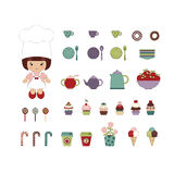 Cute dessert set Royalty Free Stock Photo