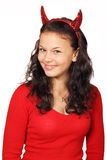 Cute devil. Young woman dressed as devil on white background Royalty Free Stock Image