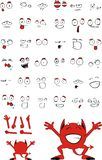 Cute devil cartoon expressions set Stock Photography