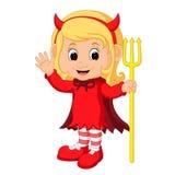 Cute devil girl cartoon Royalty Free Stock Images