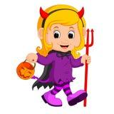 Cute devil girl cartoon Royalty Free Stock Photos