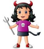 Cute devil girl cartoon Stock Image