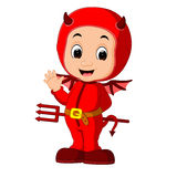 Cute devil kids cartoon Stock Images